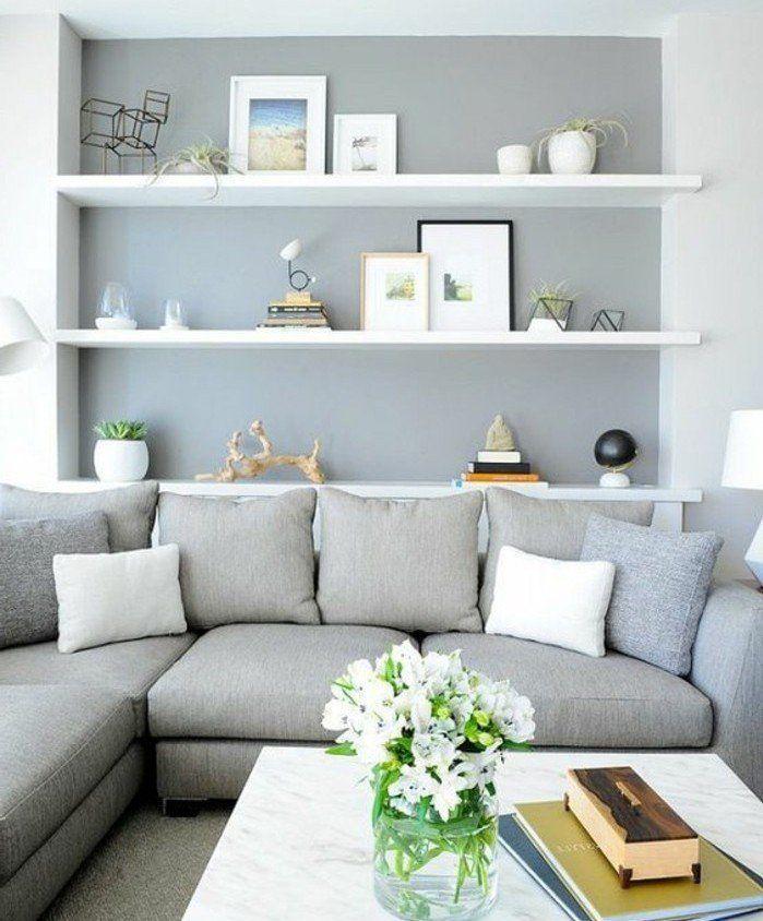 trs beau mlange salon gris et blanc mur daccent gris canap - Salon Gris Et Blanc