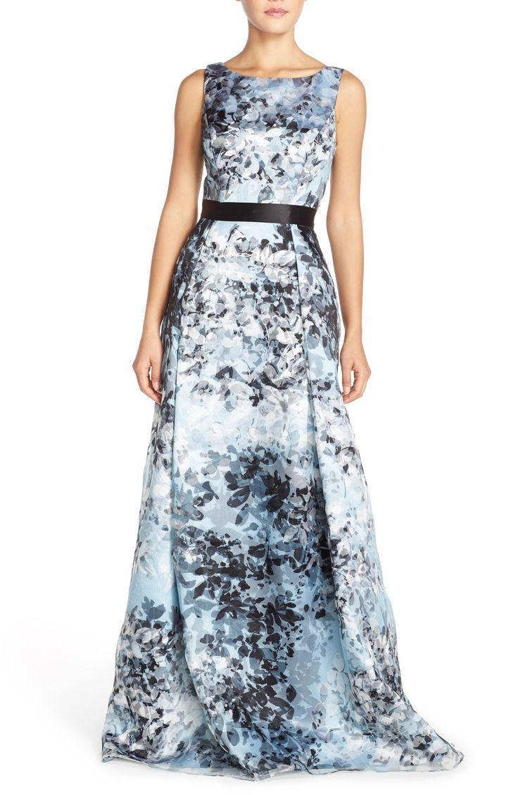 Aidan Mattox Print Organza Fit & Flare Gown