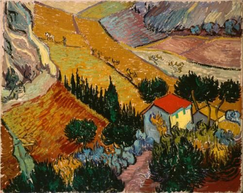 Landscape with House and Ploughman - Vincent van Gogh-This landscape is unusual in its elevated, almost bird's-eye point of view. Such an angle can be seen as an attempt to look at the world in the Japanese way, natural for an artist obsessed with Japan. However, we cannot speak of serious influence here: Van Gogh's view was individual and came from his own impressions. The dynamism distinguishing this canvas is alien to Far Eastern landscapes. The painting has an enormous internal energy.