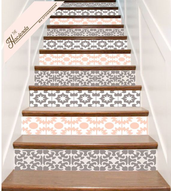 Vinyle escalier carrelage autocollants Hacienda par crowbabys