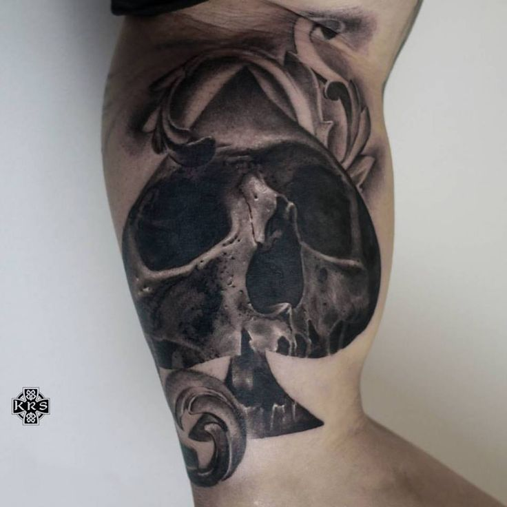 Ace of spades skull tattoo by krzysztof m limited
