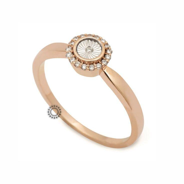 Οικονομικό δαχτυλίδι μονόπετρο ροζ χρυσό Κ18 με διαμάντια να στολίζουν την περιφέρεια του και ένα μικρό διαμάντι στο εσωτερικό λευκόχρυσο τμήμα του | Δαχτυλίδια ΤΣΑΛΔΑΡΗΣ στο Χαλάνδρι. #δαχτυλίδια #ring #diamond #Χαλάνδρι