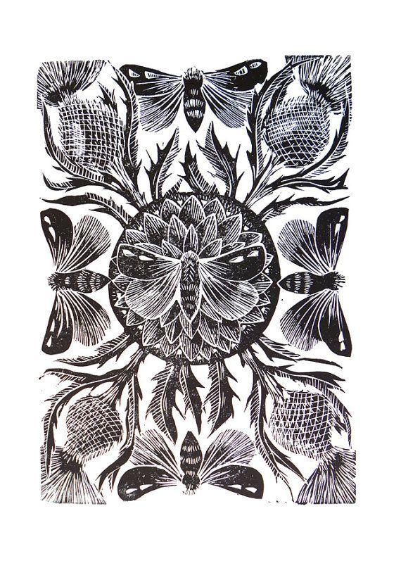 Moths and Thistle original linocut print by mangleprints
