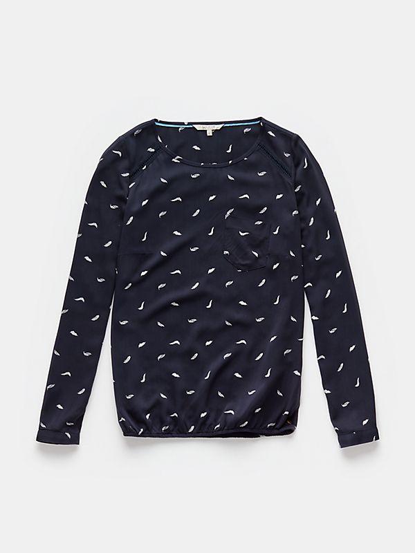 Verenprint blouse donkerblauw - The Sting