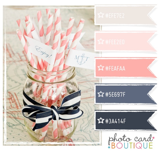 navy, slate, bubblegum pink, pale pink & pale gray -- beautiful and classic. stripes are a good accessory for this color -combination - ooh I really like this!