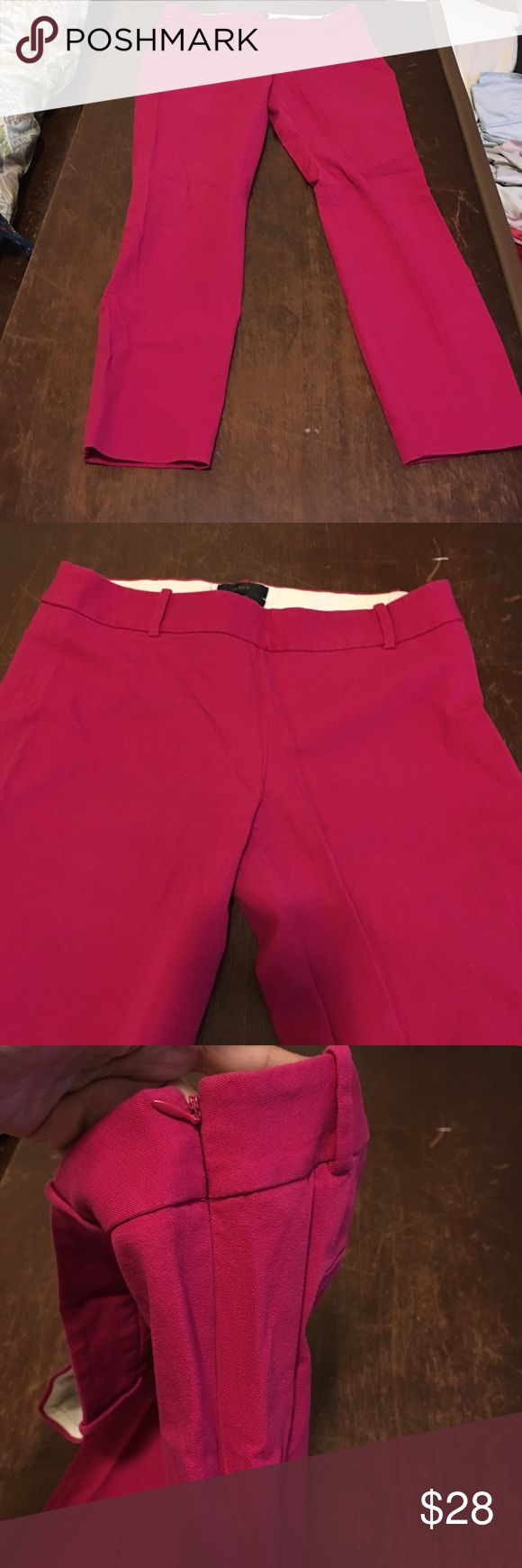J crew ankle length Minnie pants Pink ankle length side zipper cotton stretch Minnie JCrew pants J. Crew Pants Ankle & Cropped