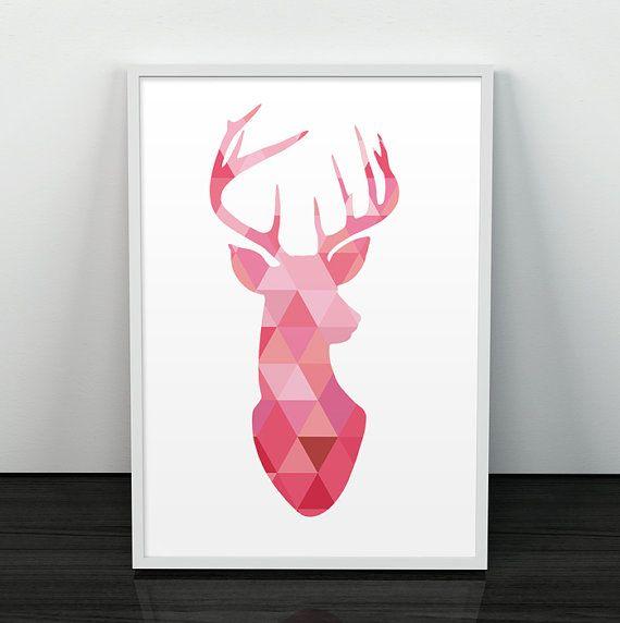 Ciervo silueta, Geometrico, Poster, Triangulos, Minimalista, arte impreso, ciervo minimalista, ciervo geometrico
