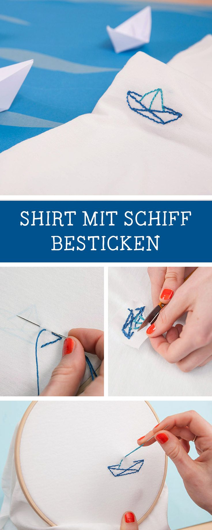 Maritime Stickanleitung für ein gesticktes Papierboot auf einem Shirt, Stick Inspiration mit dem Verlag Delius Klasing / how to stitch a cute paperboat on a shirt, embroidery inspiration via DaWanda.com