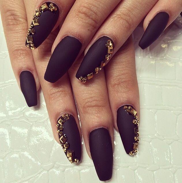 Matte Black Acrylic Nails w/ Gold Rhinestones