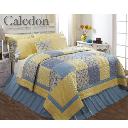 Delectably Yours Caledon Blue Amp Yellow Patchwork Quilt
