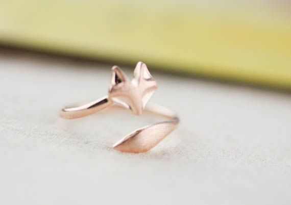 fox ring silver plated/ rose gold plated