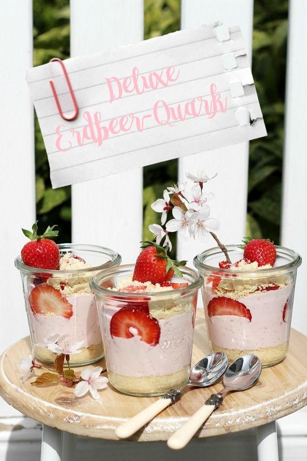 Erdbeer-Quark Deluxe, Quarkspeise, Shortbread, selbermachen, Nachtisch, Sommernachtisch, schneller Nachtisch, lecker, für Kinder