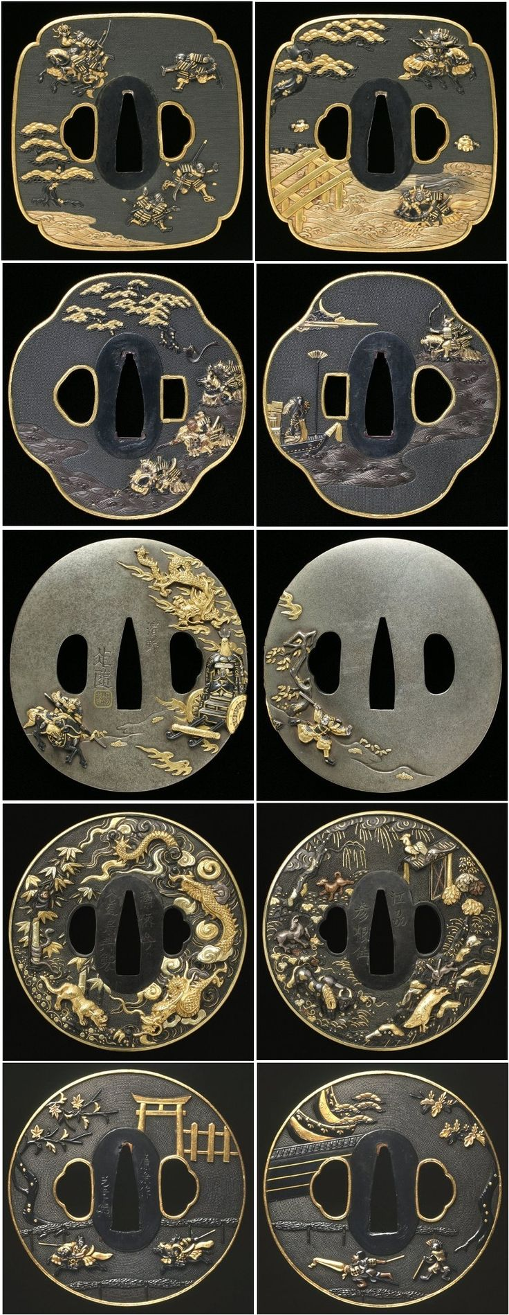 All 10 images are from 5 distinct tsubas first image is from the front of the tsuba the other is the back of the same tsuba