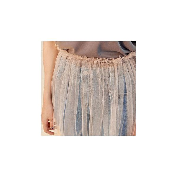 Gathered-Waist Long Tulle Skirt ($22) ❤ liked on Polyvore featuring skirts, women, elastic band skirt, long brown maxi skirt, long maxi skirts, long skirts and brown maxi skirt