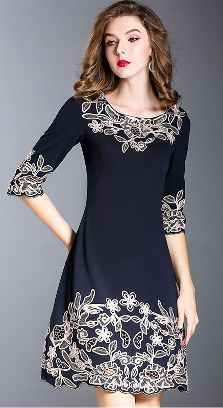 Vintage O-Neck Embroidery Slim A-Line Dress