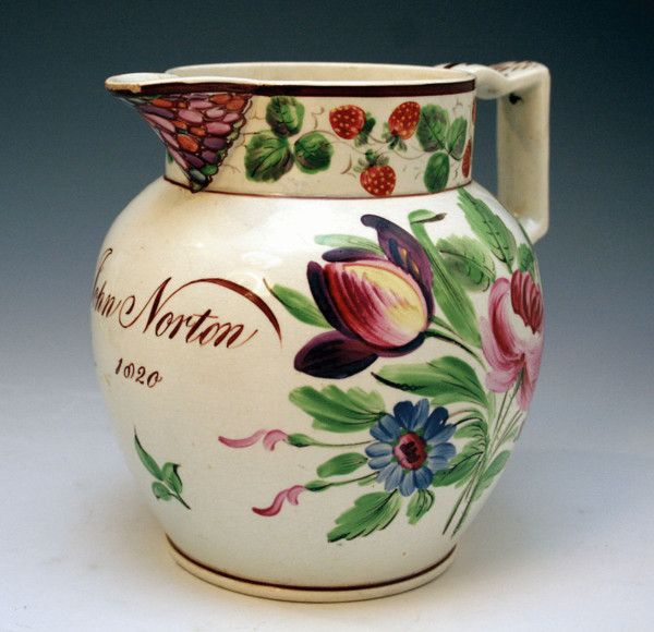 Antique Pearlware jug from the Bristol Factory named and dated John Norton 1820