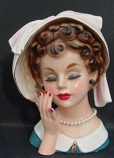 brown curls and pearls lady head planter