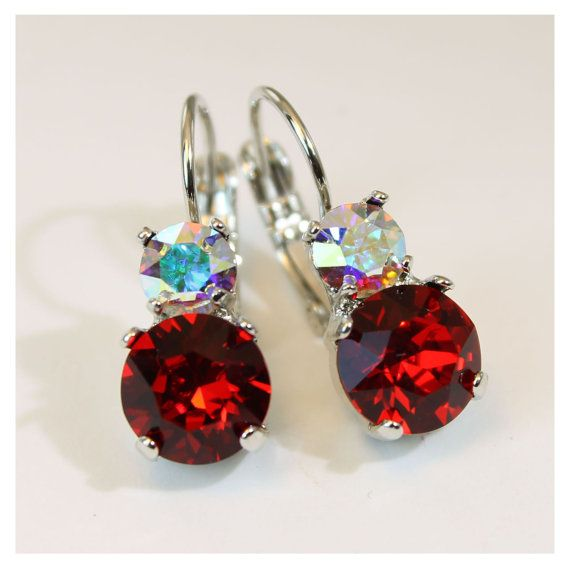 Red Crystal earrings Christmas holidays Ruby Red Drop by TIMATIBO