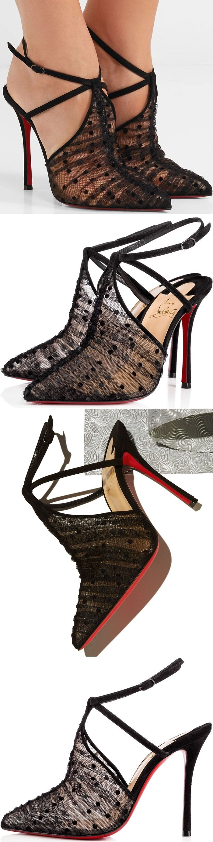 These category defying semi T-strap pumps are topped with swathes of gathered tulle flocked with plush polka-dots