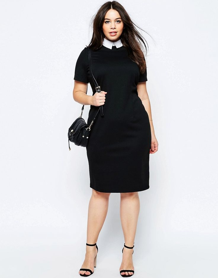 ASOS CURVE Bodycon Dress with Contrast Collar in Plus Size.