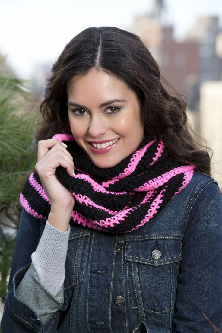 14 best scarf images on pinterest crochet scarves free crochet red heart super saver bright stripes cowl crochet pattern bankloansurffo Image collections