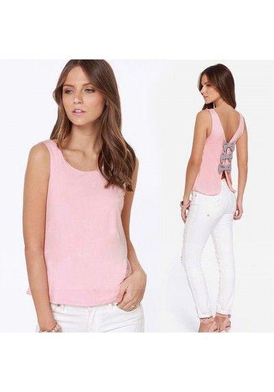 Blusa rosa #pastel con espalda con lazos de #kaleidoskopicshop.