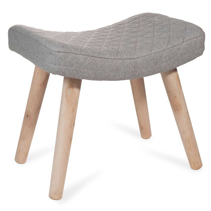 LAPLAND wooden stool with grey fabric