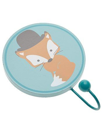 Patère fantaisie Bébé garçon 3,99€ Déco chambre Patère thème forêt. - Imprimé hérisson multicolore, renard à chapeau ou raton avec noeud papillon - Diamètre cercle : 1