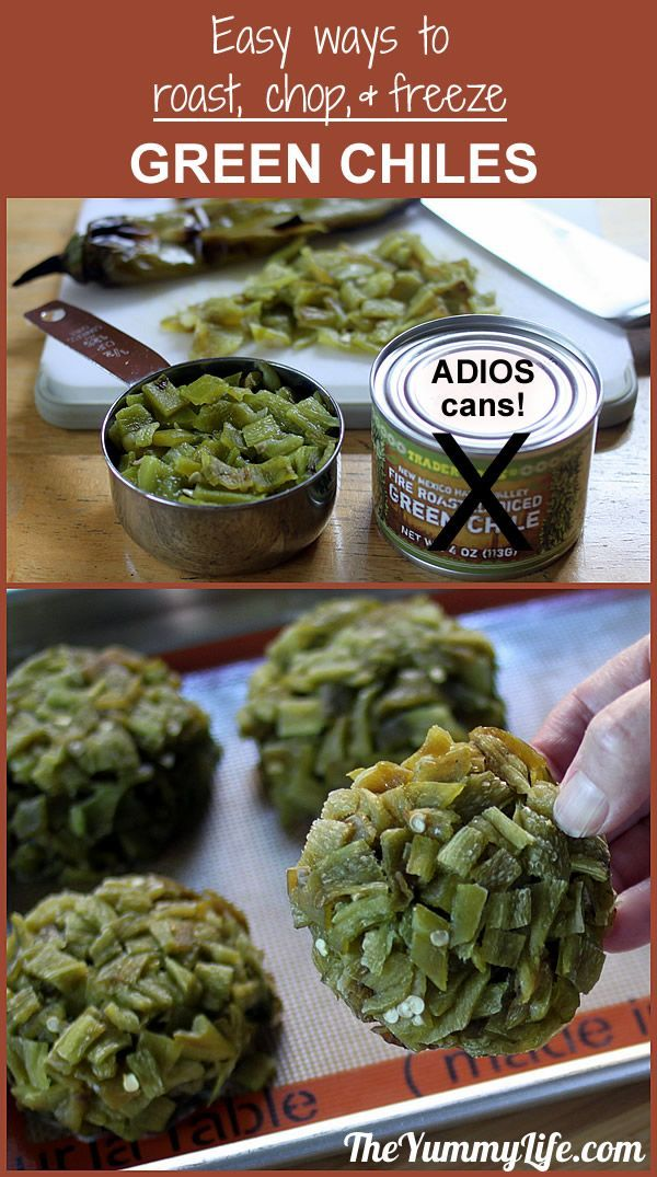 Easy ways to roast and freeze green chiles. Say ADIOS to canned chiles. From TheYummyLife.com