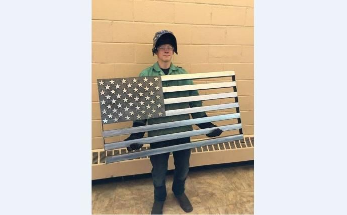 High school student Damion Davenport recently created a metal American Flag in his Intro to Welding class. You won't believe this thing!