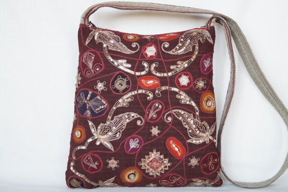 Colourful flower medium size bag vintage bag by bokrisztina