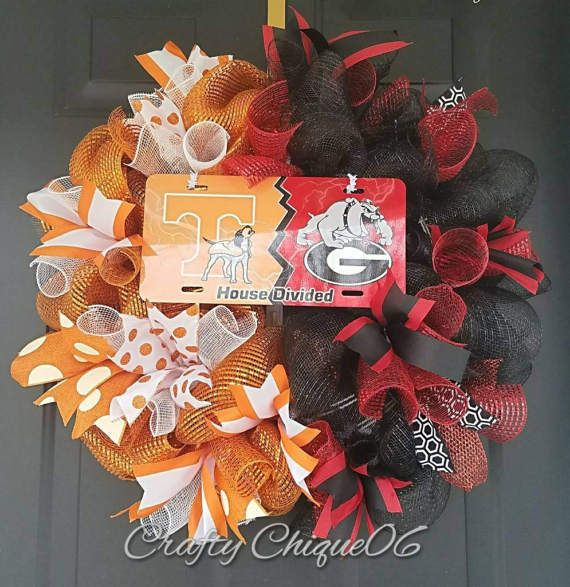 Check out this item in my Etsy shop https://www.etsy.com/listing/506960656/house-divided-wreath-college-teams-any