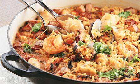 Arroz meloso de mariscos y chorizo español. Javier La Rotta