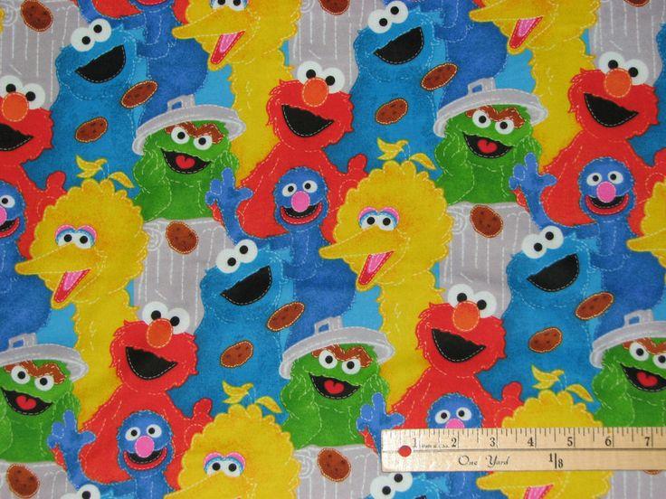Elmo Cookie Monster Oscar Sesame Street Allover Fabric By