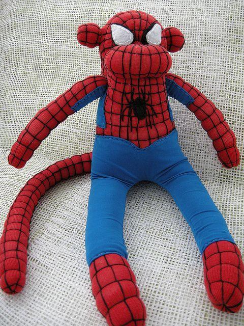 Spiderman Sock Monkey   by Munkybuns Sock Creatures