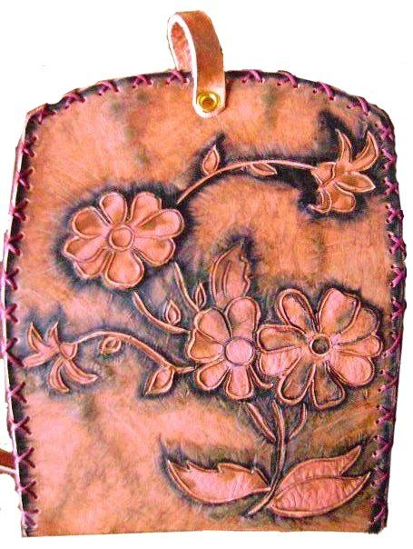 daisies engrave on leather