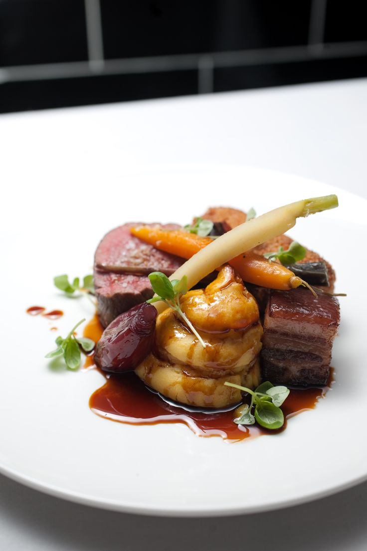 Roasted beef fillet w/ crumbed brisket, duchess potato, kaiserfleish, glazed shallots and heirloom carrots compliments of our Kitchen @Encore StKilda