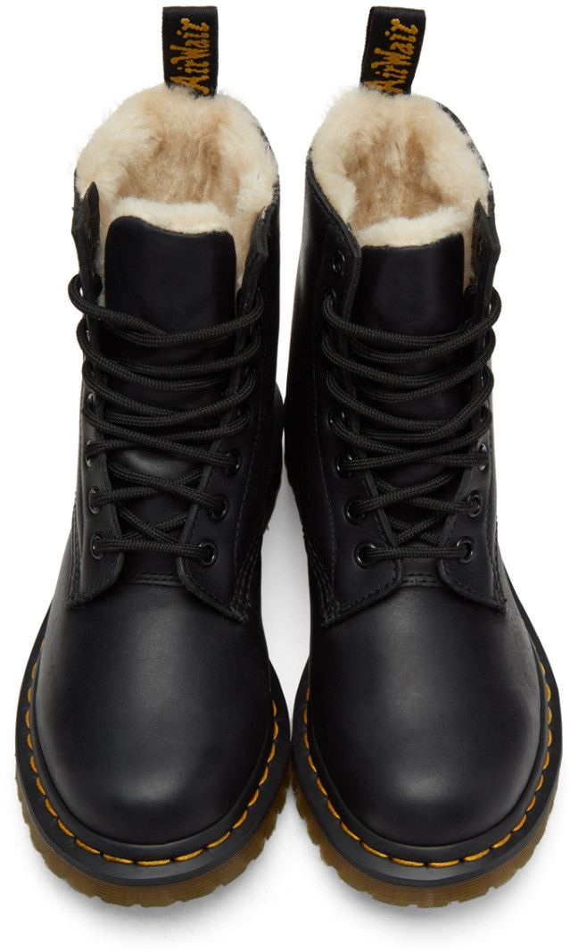 f7ca200f676 Dr. Martens - Black Fur-Lined Serena Boots | waterproof in 2019 | Dr ...