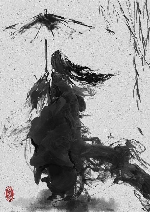 Chinese watercolor - smoke effect