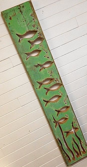 Fish Panel in Green Wall Art Decor Beach Lake House Cabin Cottage by CastawaysHall READY TO SHIP One only