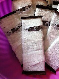 Mummy hershey bars with cheesecloth. #haunteddinnertheater