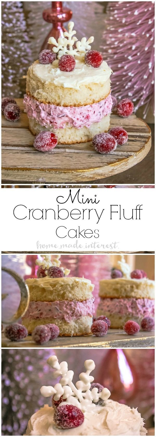 These pretty Mini Cranberry Fluff Cakes are perfect for Thanksgiving dessert or Christmas dessert. The cranberry fluff recipe is one of my favorites and it is even better sandwiched between two slices of cake and topped with white frosting! MyChinet | AD @mychinet