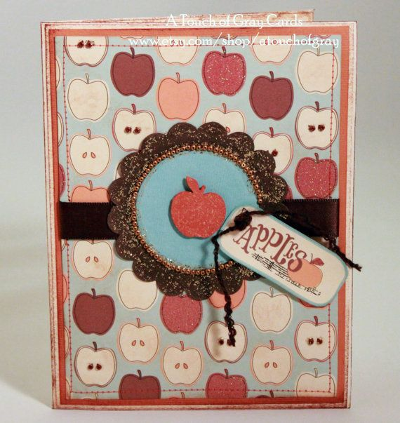 Thanksgiving Card  Apple Orchard   Handmade Fall Card