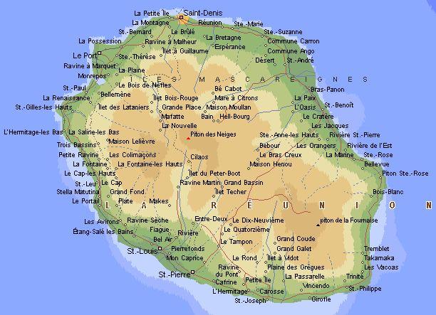 Plages : Carte de l'ile de la Réunion