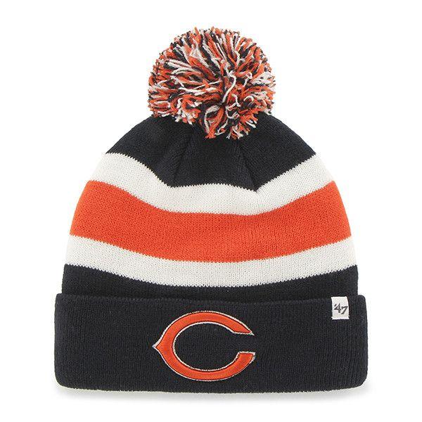 58596c2ac4e Chicago Bears 47 Brand Tri-Tone Breakaway Knit Cuffed Beanie Poofball Hat  Cap