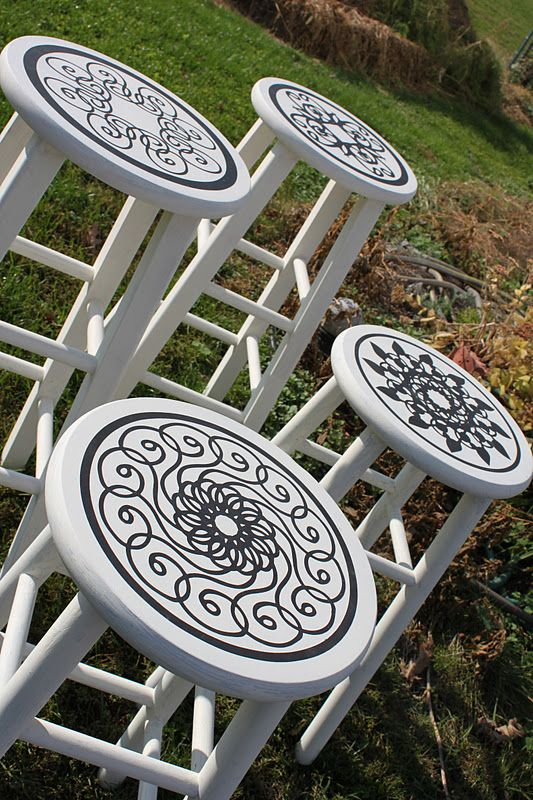 Stenciled stools- for the basement bar?
