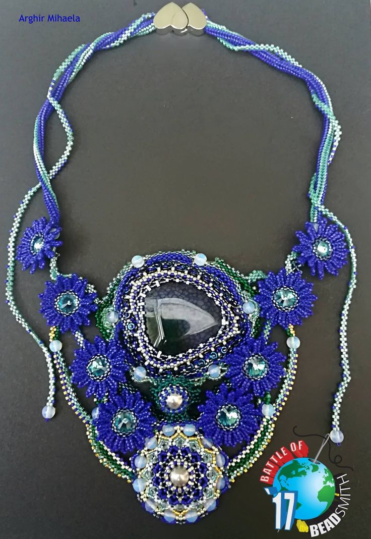 "Beaded necklace! My proposal for this contest is inspired by a stanza of love poetry ""Blue Flower"" by Mihai Eminescu"