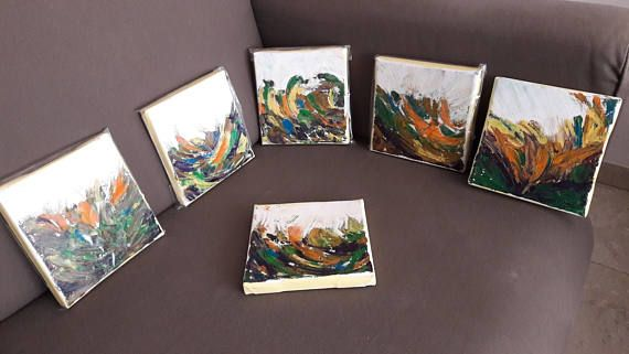 6 oil mini paintings oil on canvas 2 tryptich in oil