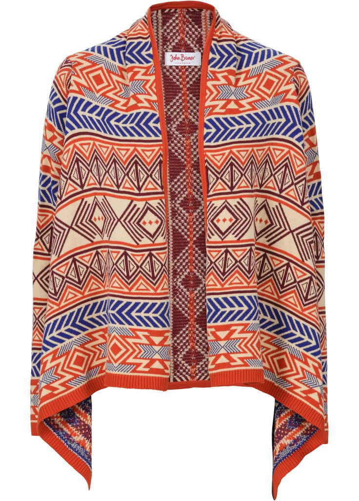 Gebreid vest, John Baner JEANSWEAR, oranje gedessineerd knit vest orange print