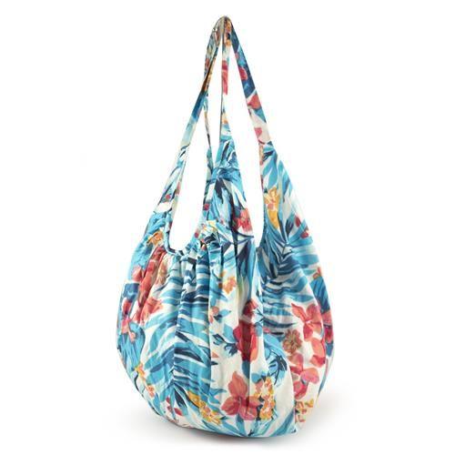 BANANA BAG MEGAN AZZURRA - Banana bag in cotone stampato con fantasia jungle. Chiusura cerniera. Leggerissima, ideale da mettere in valigia con il kaftano e il pareo coordinati.